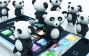 Happy Pandas桌面壁纸 Archigraphs创意3D动物插画设计壁纸 插画壁纸