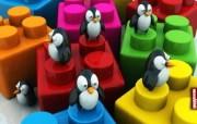 Penguins Love Legos桌面壁纸 Archigraphs创意3D动物插画设计壁纸 插画壁纸