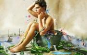 Taking Bath 创意个性合成壁纸 1600 1200 插画设计大杂烩第十三辑 插画壁纸