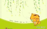 烤猫四季系列 春 凝听春风的声音 桌面壁纸 Copy Cat 烤猫卡通壁纸 插画壁纸