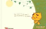 烤猫四季系列 秋 思念的季节 桌面壁纸 Copy Cat 烤猫卡通壁纸 插画壁纸