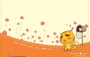 烤猫四季系列 秋 爱的邮件 桌面壁纸 Copy Cat 烤猫卡通壁纸 插画壁纸