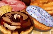丰盛美食 美食主题电脑绘画 甜甜圈插画 美食主题CG绘画壁纸 1920 1200 丰盛美食美食主题电脑绘画 插画壁纸