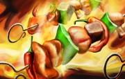丰盛美食 美食主题电脑绘画 BBQ烧烤串插画 美食主题插画壁纸 1920 1200 丰盛美食美食主题电脑绘画 插画壁纸