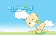 韩国AURORA卡通系列wishwing想飞的小熊 插画壁纸