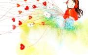 韩国插画名家 Webjong 甜美女孩插画 三 情书 Webjong 甜美小女孩插画 韩国插画名家Webjong 甜美女孩插画三 插画壁纸