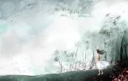 韩国插画名家系列Soo Hyun水彩作品《少女》 插画壁纸