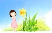 韩国儿童插画可爱小女孩 插画壁纸