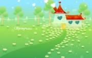 韩国风景矢量图春天的童话 插画壁纸