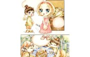 韩国可爱卡通女孩 Ruji Roka Desktop Wallpape of Girl Cartoon 韩国卡通女孩壁纸 Ruji Roka 插画壁纸