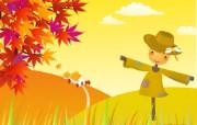 韩国秋天矢量图风景壁纸 插画壁纸