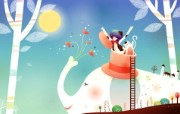 韩国矢量插画 缤纷奇幻乐园 卡通矢量插画 大象 1920 1200 韩国矢量插画缤纷奇幻乐园 插画壁纸