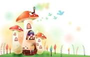韩国矢量插画 缤纷奇幻乐园 卡通矢量插画 蘑菇房子 1920 1200 韩国矢量插画缤纷奇幻乐园 插画壁纸