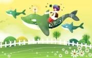 韩国矢量插画 缤纷奇幻乐园 卡通矢量插画壁纸 会飞的鲸鱼 1920 1200 韩国矢量插画缤纷奇幻乐园 插画壁纸