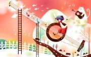 韩国矢量插画 缤纷奇幻乐园 卡通矢量插画壁纸 自己的音乐 1920 1200 韩国矢量插画缤纷奇幻乐园 插画壁纸