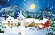 韩国矢量风景插画冬日白雪 插画壁纸