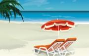 韩国矢量风景夏日海滩 插画壁纸