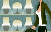 时尚美女矢量图壁纸 Desktop Wallpaper of Vector Illustration of Trendy Girls 韩国时尚美女矢量壁纸二 插画壁纸