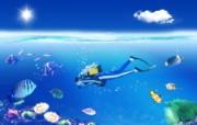 蓝色水底世界 Photoshop 创意设计壁纸 韩国唯美精品CG设计集 插画壁纸