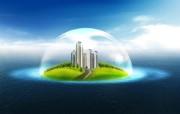 绿色小岛 建筑概念设计壁纸 韩国唯美精品CG设计集 插画壁纸