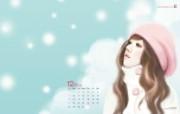 Enakei作品 Jennie桌面图片壁纸 韩国文具品牌Pinkfoot 2009月历插画壁纸 插画壁纸