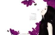 Enakei作品 Jennie1月图片壁纸 韩国文具品牌Pinkfoot 2009月历插画壁纸 插画壁纸