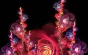 华丽分形艺术炫彩花卉 插画壁纸