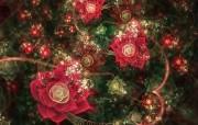 分形艺术花卉 几何图形的艺术 华丽分形艺术炫彩花卉 插画壁纸