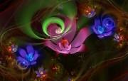 炫彩花卉 分形艺术图片 华丽分形艺术炫彩花卉 插画壁纸