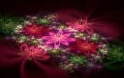 炫彩花卉 几何图形的艺术 华丽分形艺术炫彩花卉 插画壁纸