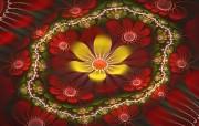 分形艺术花卉 分形艺术图案 华丽分形艺术炫彩花卉 插画壁纸