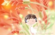 花香满径 卡通女孩与花卉 Desktop Wallpaper of Flower Girl 花香满径壁纸 插画壁纸
