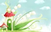 卡通四季风景童话春天 插画壁纸