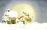 卡通四季风景童话冬季 插画壁纸