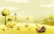 卡通四季风景童话秋天 插画壁纸