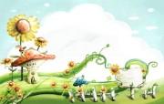 卡通四季风景童话夏天 插画壁纸