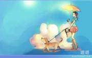 遛狗的女孩 可爱狗狗插画图片 Lovely Puppy Illustration Wallpaper 可爱狗狗插画壁纸 插画壁纸