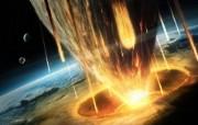 陨石撞地球 宇宙星球CG壁纸 科幻宇宙星球CG壁纸 插画壁纸