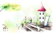 浪漫都市风景 柔美韩国插画壁纸 浪漫都市风景韩国插画 插画壁纸