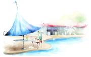 浪漫咖啡馆 柔美韩国插画壁纸 浪漫都市风景韩国插画 插画壁纸