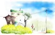 浪漫小镇风景 柔美韩国插画壁纸 浪漫都市风景韩国插画 插画壁纸