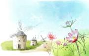 浪漫风车 柔美韩国插画壁纸 浪漫都市风景韩国插画 插画壁纸