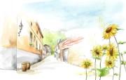 浪漫街道 柔美韩国插画壁纸 浪漫都市风景韩国插画 插画壁纸