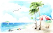浪漫海滩风景 柔美韩国插画壁纸 浪漫都市风景韩国插画 插画壁纸