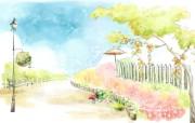 浪漫街道风景 柔美韩国插画壁纸 浪漫都市风景韩国插画 插画壁纸