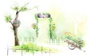 浪漫公园 柔美韩国插画壁纸 浪漫都市风景韩国插画 插画壁纸