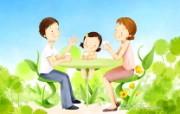 母亲节主题 可爱韩国插画壁纸 母亲节插画 幸福家庭生活插画壁纸 母亲节主题韩国插画壁纸 插画壁纸