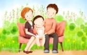 母亲节主题 可爱韩国插画壁纸 韩国插画 幸福家庭生活插画壁纸 母亲节主题韩国插画壁纸 插画壁纸