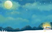 1920 1440 童话秋天 中秋月亮插画壁纸 Painter 水彩风格童话秋天插画壁纸 插画壁纸