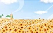 1920 1440 秋天的向日葵 童话秋天插画壁纸 Painter 水彩风格童话秋天插画壁纸 插画壁纸